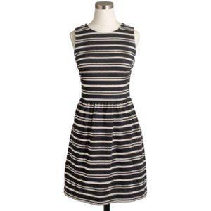 J Crew striped Ponte dress black/cream pleats